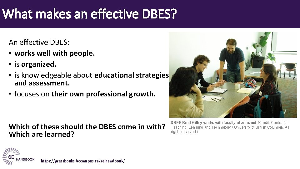 What makes an effective DBES? An effective DBES: • works well with people. •