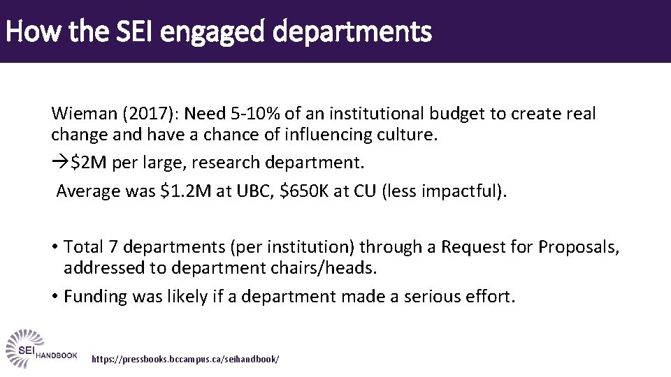 How the SEI engaged departments Wieman (2017): Need 5 -10% of an institutional budget