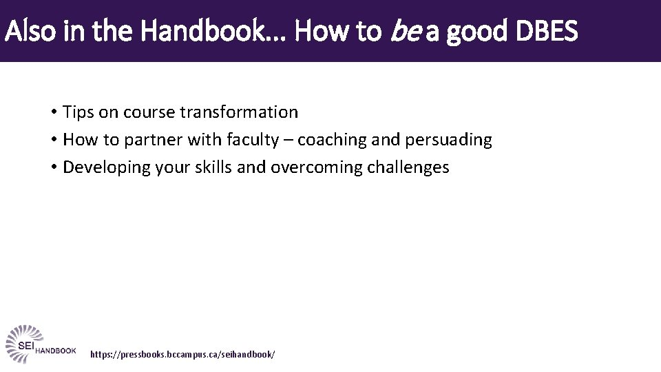 Also in the Handbook. . . How to be a good DBES • Tips
