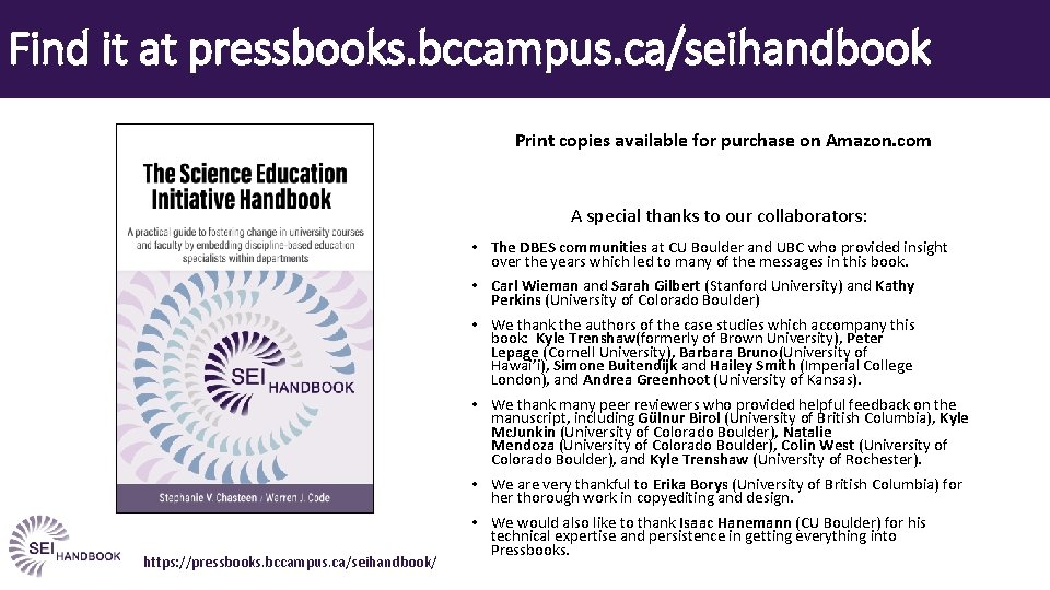 Find it at pressbooks. bccampus. ca/seihandbook Print copies available for purchase on Amazon. com