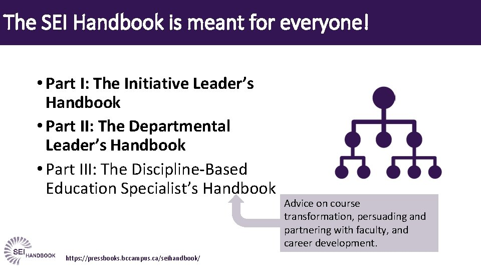 The SEI Handbook is meant for everyone! • Part I: The Initiative Leader's Handbook