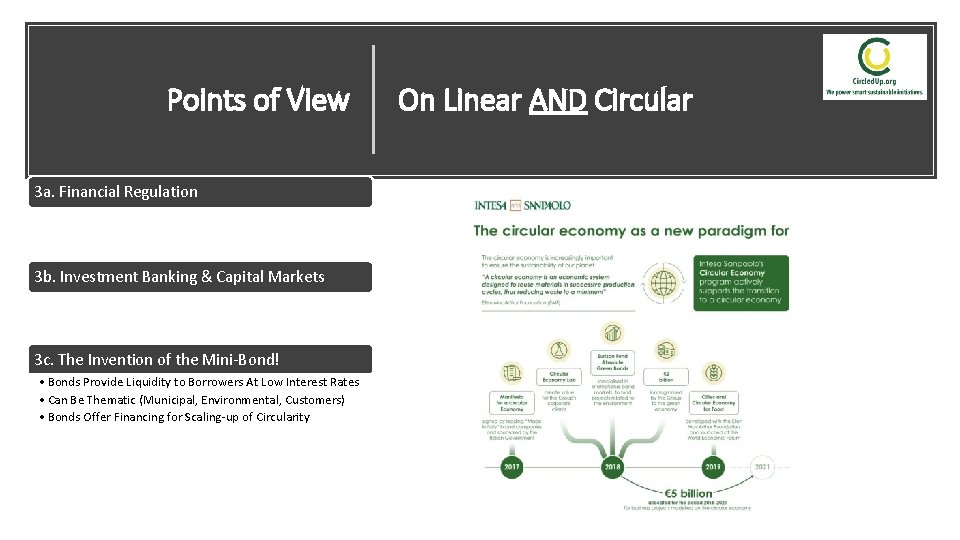 Points of View On Linear AND Circular 3 a. Financial Regulation • Protect Consumers
