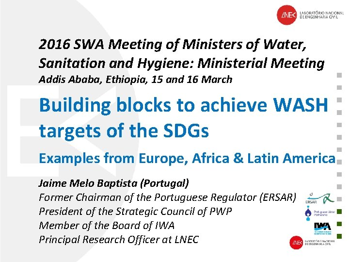 2016 SWA Meeting of Ministers of Water, Sanitation and Hygiene: Ministerial Meeting Addis Ababa,