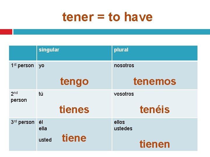 tener = to have singular plural 1 st person yo nosotros tengo 2 nd