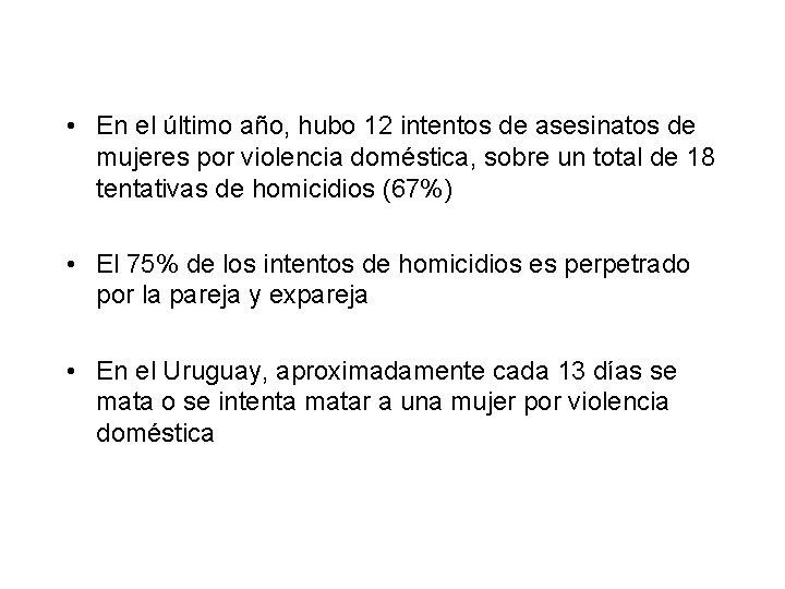 • En el último año, hubo 12 intentos de asesinatos de mujeres por