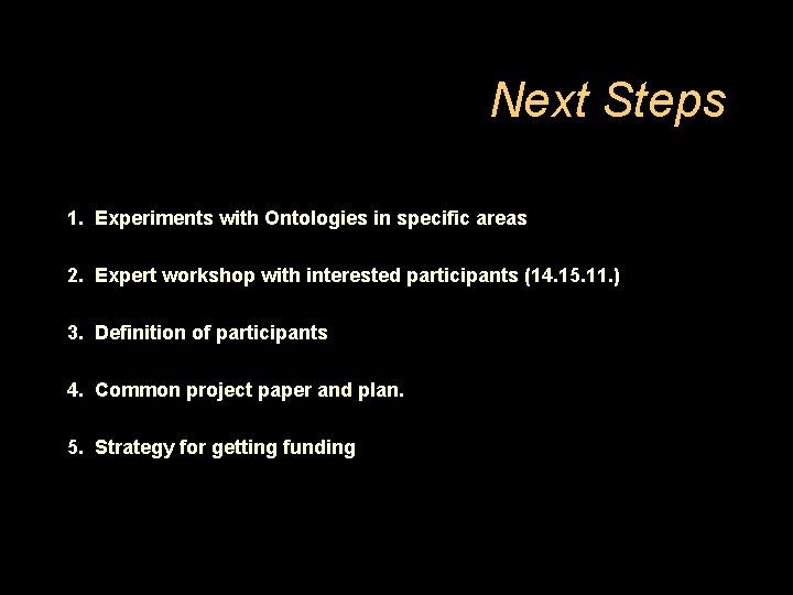 Next Steps 1. Experiments with Ontologies in specific areas 2. Expert workshop with interested
