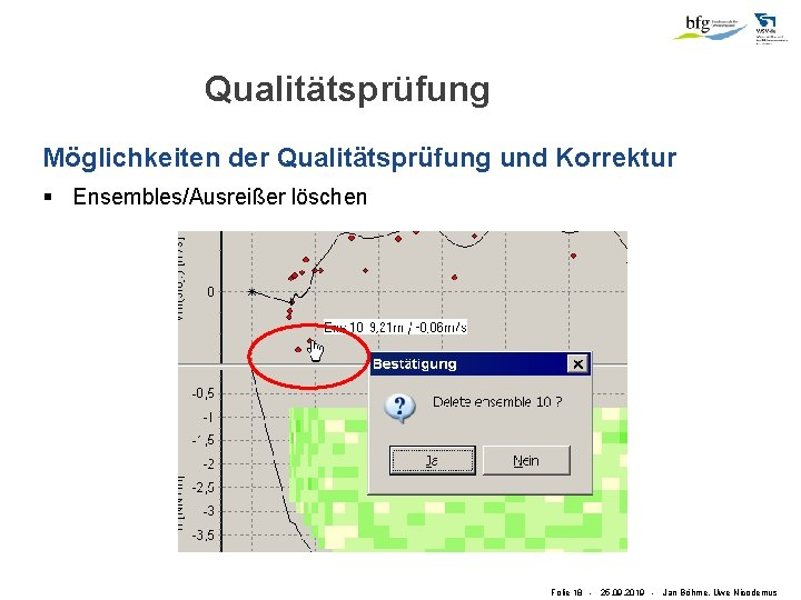 Qualitätsprüfung Möglichkeiten der Qualitätsprüfung und Korrektur § Ensembles/Ausreißer löschen Folie 18 - 25. 09.