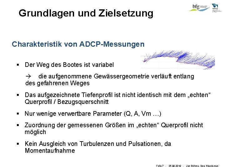 Grundlagen und Zielsetzung Charakteristik von ADCP-Messungen § Der Weg des Bootes ist variabel die