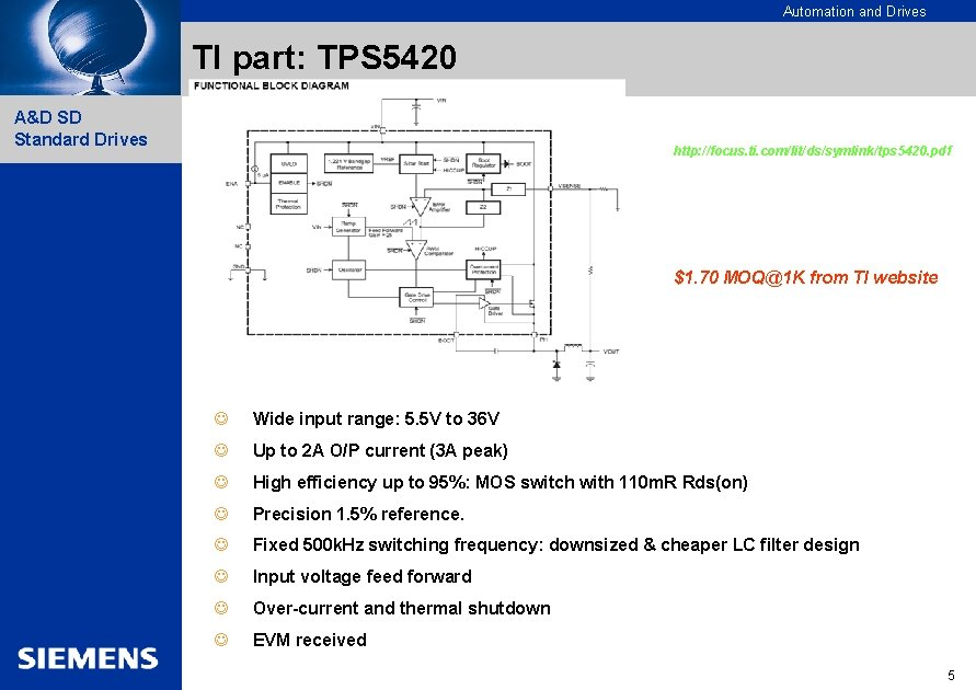 Automation and Drives TI part: TPS 5420 A&D SD Standard Drives http: //focus. ti.