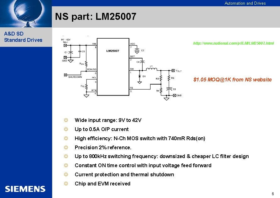 Automation and Drives NS part: LM 25007 A&D SD Standard Drives http: //www. national.