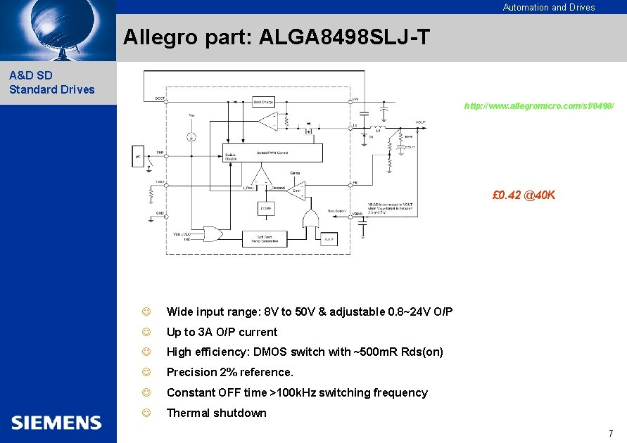 Automation and Drives Allegro part: ALGA 8498 SLJ-T A&D SD Standard Drives http: //www.