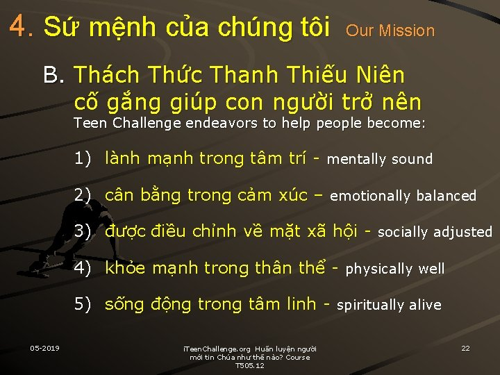 4. Sứ mệnh của chúng tôi Our Mission B. Thách Thức Thanh Thiếu Niên
