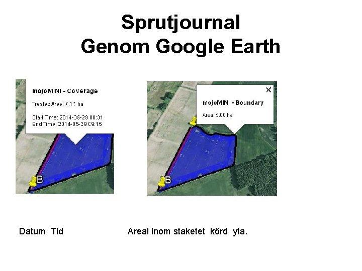 Sprutjournal Genom Google Earth Datum Tid Areal inom staketet körd yta.