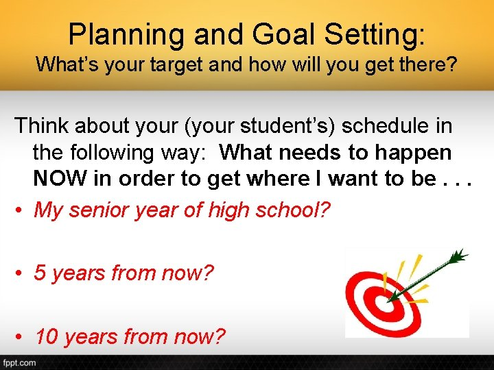 Planning and Goal Setting: What's your target and how will you get there? Think