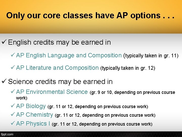 Only our core classes have AP options. . . ü English credits may be