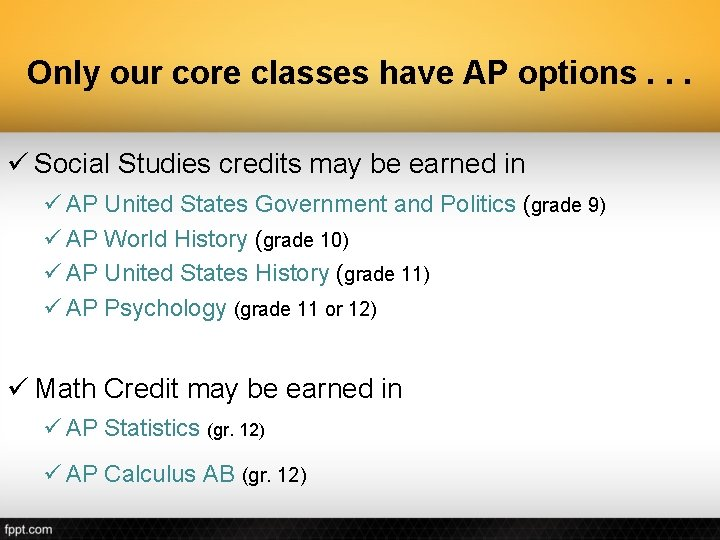 Only our core classes have AP options. . . ü Social Studies credits may