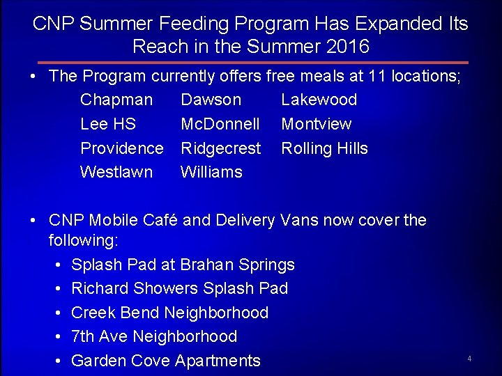 CNP Summer Feeding Program Has Expanded Its Reach in the Summer 2016 • The