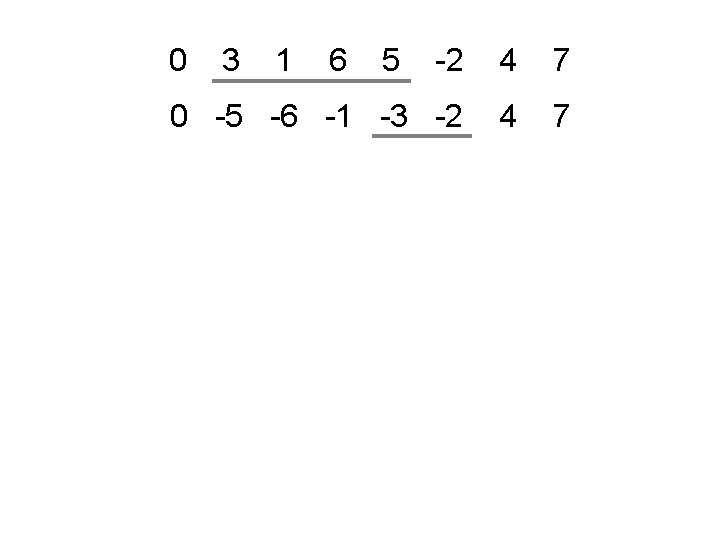 0 3 1 6 5 -2 4 7 0 -5 -6 -1 -3 -2