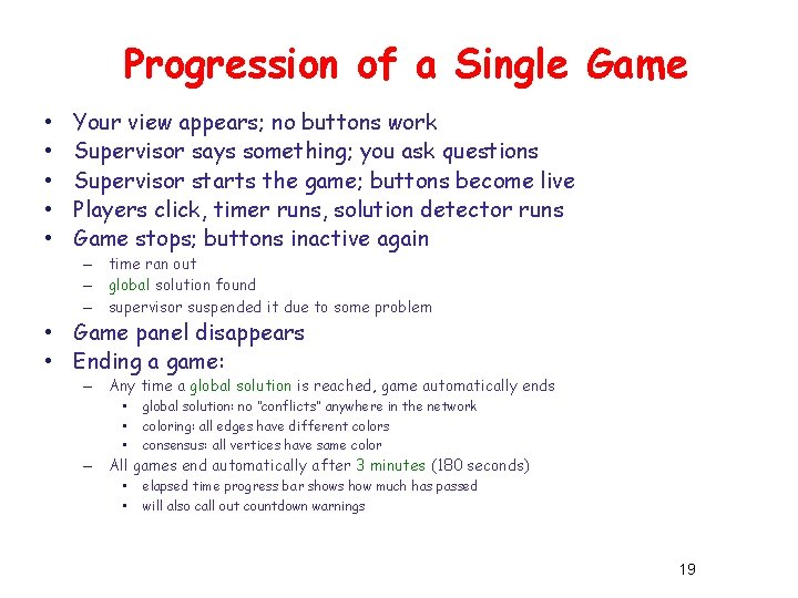 Progression of a Single Game • • • Your view appears; no buttons work
