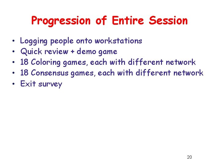 Progression of Entire Session • • • Logging people onto workstations Quick review +