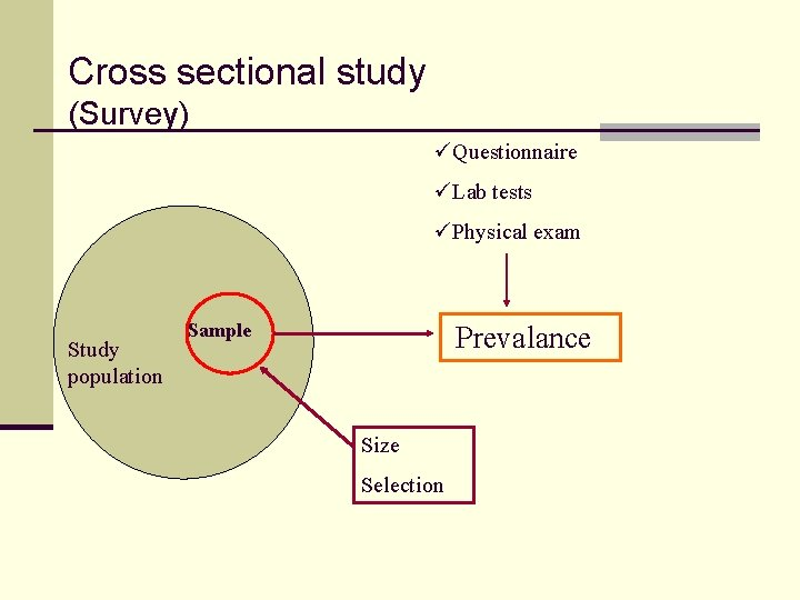 Cross sectional study (Survey) üQuestionnaire üLab tests üPhysical exam Study population Sample Prevalance Size