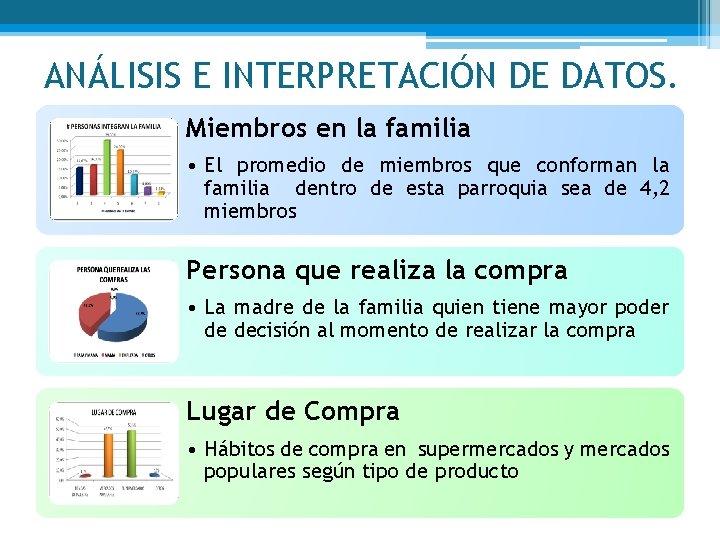 ANÁLISIS E INTERPRETACIÓN DE DATOS. Miembros en la familia • El promedio de miembros