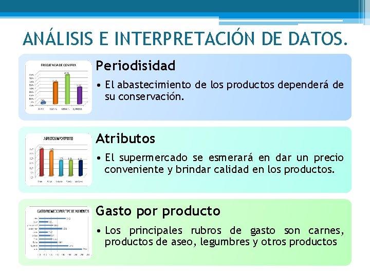 ANÁLISIS E INTERPRETACIÓN DE DATOS. Periodisidad • El abastecimiento de los productos dependerá de
