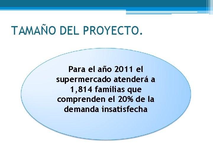 TAMAÑO DEL PROYECTO. Para el año 2011 el supermercado atenderá a 1, 814 familias