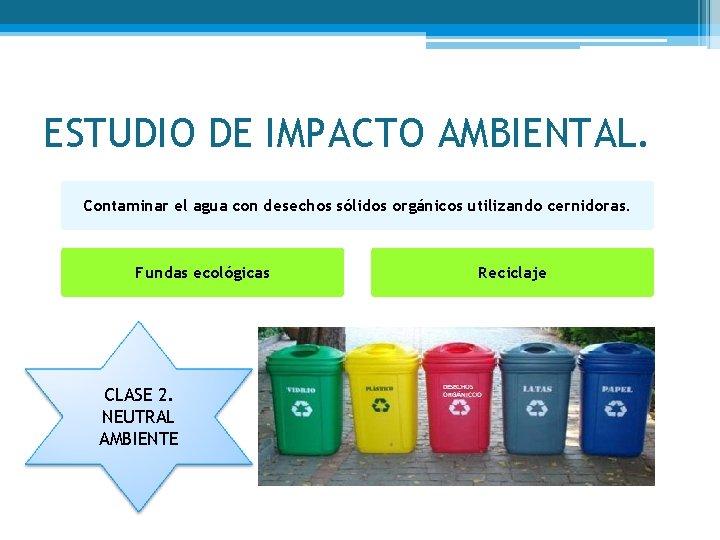 ESTUDIO DE IMPACTO AMBIENTAL. Contaminar el agua con desechos sólidos orgánicos utilizando cernidoras. Fundas
