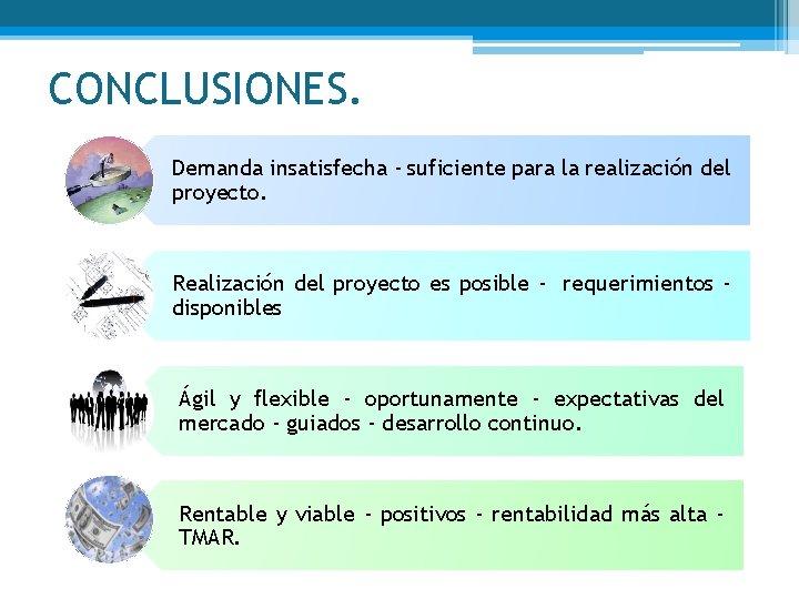 CONCLUSIONES. Demanda insatisfecha - suficiente para la realización del proyecto. Realización del proyecto es