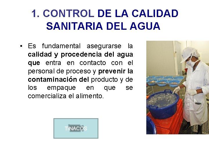 1. CONTROL DE LA CALIDAD SANITARIA DEL AGUA • Es fundamental asegurarse la calidad