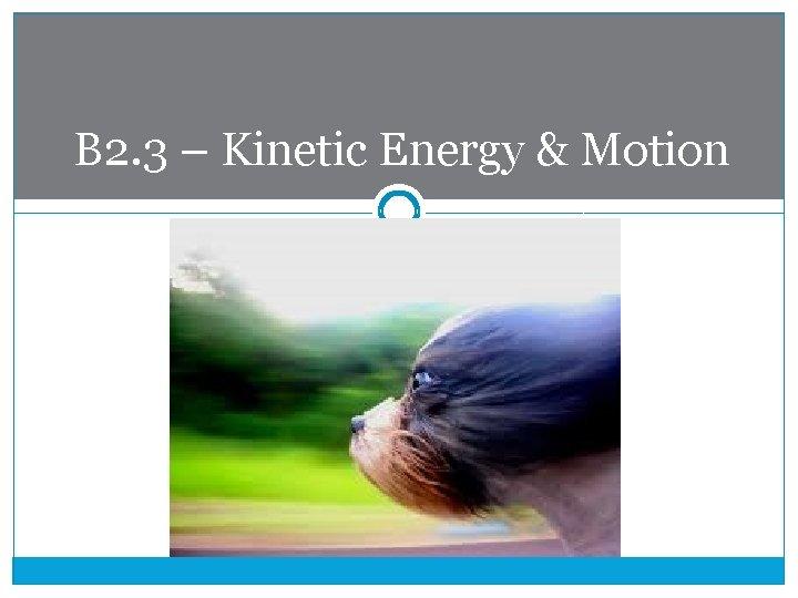 B 2. 3 – Kinetic Energy & Motion