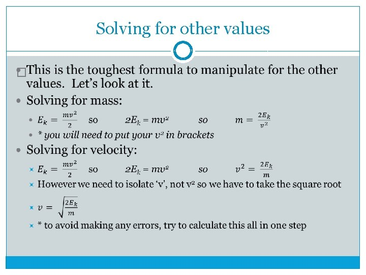 Solving for other values �