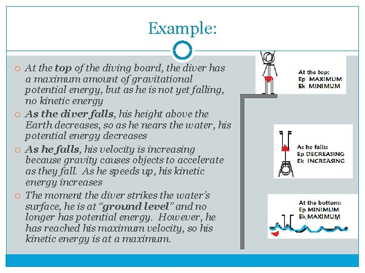 Example: At the top of the diving board, the diver has a maximum amount