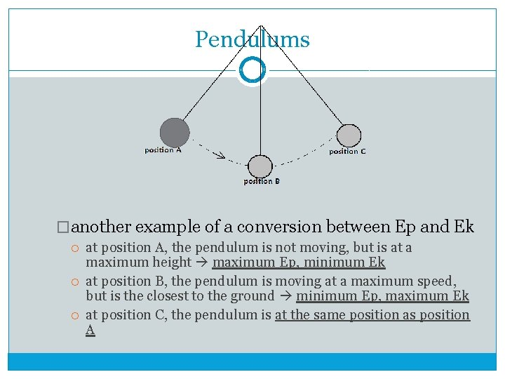 Pendulums �another example of a conversion between Ep and Ek at position A, the