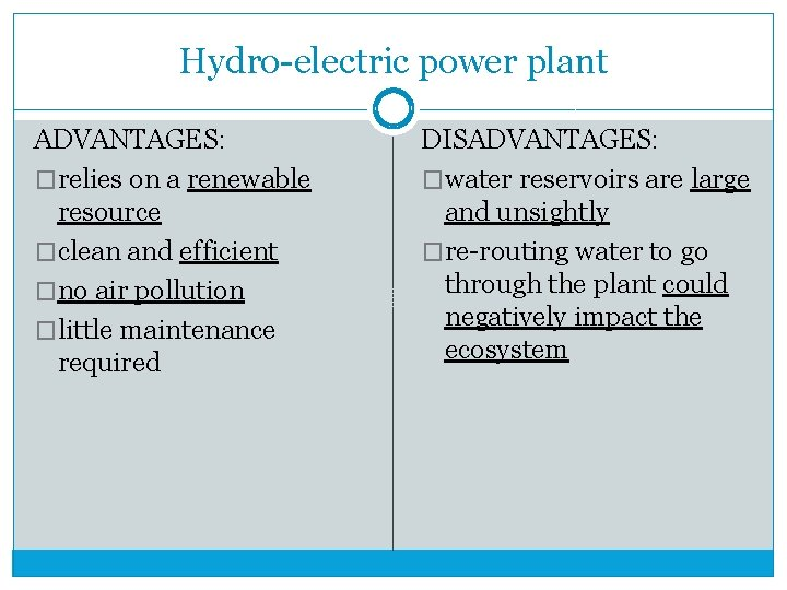 Hydro-electric power plant ADVANTAGES: �relies on a renewable resource �clean and efficient �no air