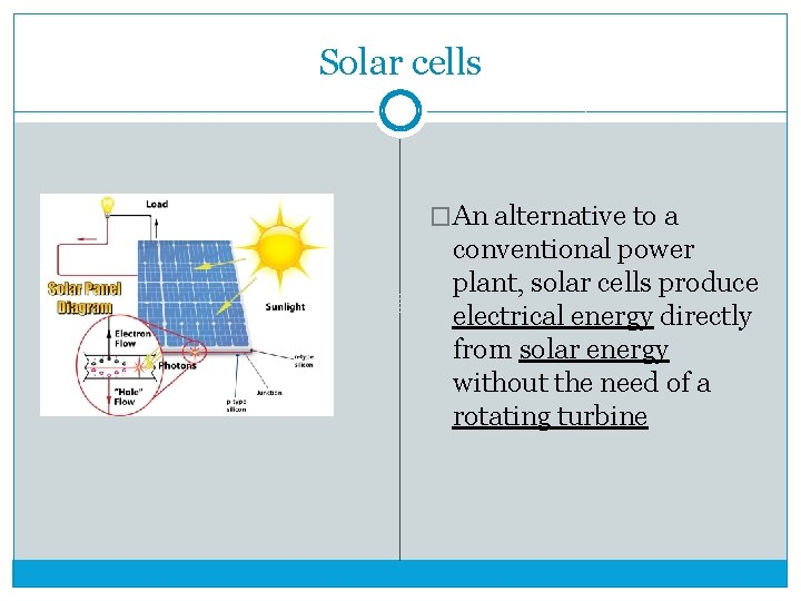 Solar cells �An alternative to a conventional power plant, solar cells produce electrical energy