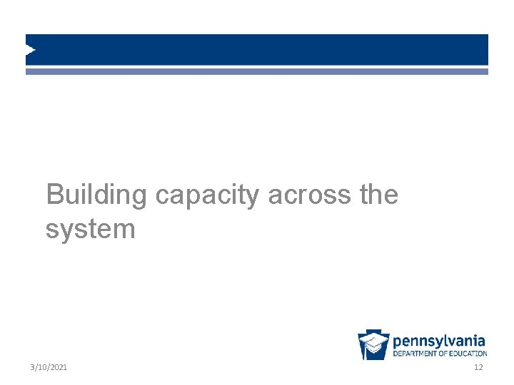 Building capacity across the system 3/10/2021 12