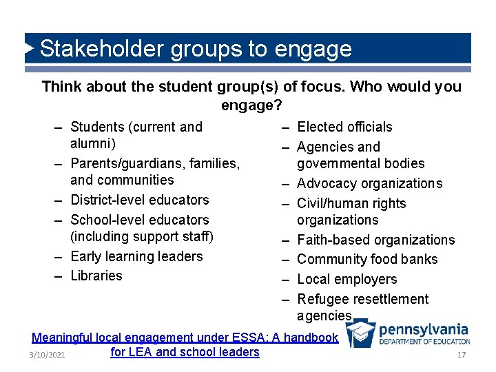 Stakeholder groups to engage Think about the student group(s) of focus. Who would you