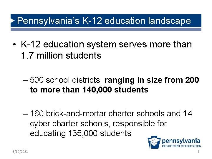 Pennsylvania's K-12 education landscape • K-12 education system serves more than 1. 7 million
