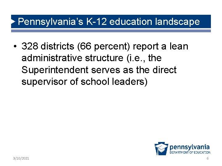 Pennsylvania's K-12 education landscape • 328 districts (66 percent) report a lean administrative structure