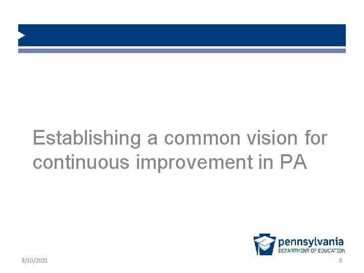 Establishing a common vision for continuous improvement in PA 3/10/2021 8