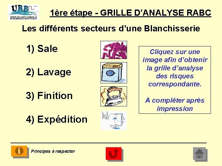 1ère étape - GRILLE D'ANALYSE RABC Les différents secteurs d'une Blanchisserie 1) Sale 2)