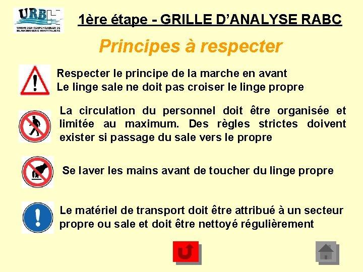 1ère étape - GRILLE D'ANALYSE RABC Principes à respecter Respecter le principe de la