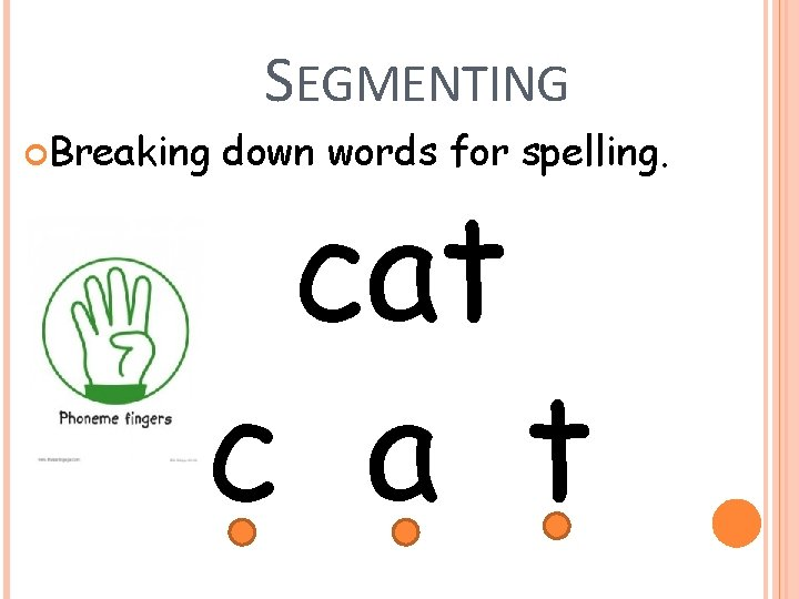 SEGMENTING Breaking down words for spelling. cat c a t