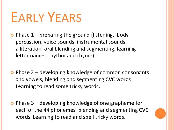 EARLY YEARS Phase 1 – preparing the ground (listening, body percussion, voice sounds, instrumental
