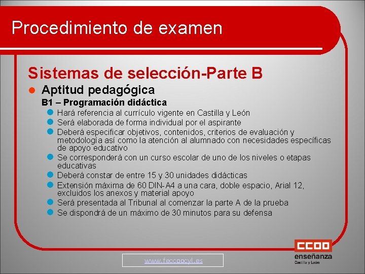 Procedimiento de examen Sistemas de selección-Parte B Aptitud pedagógica B 1 – Programación didáctica