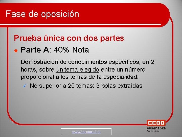 Fase de oposición Prueba única con dos partes Parte A: 40% Nota Demostración de