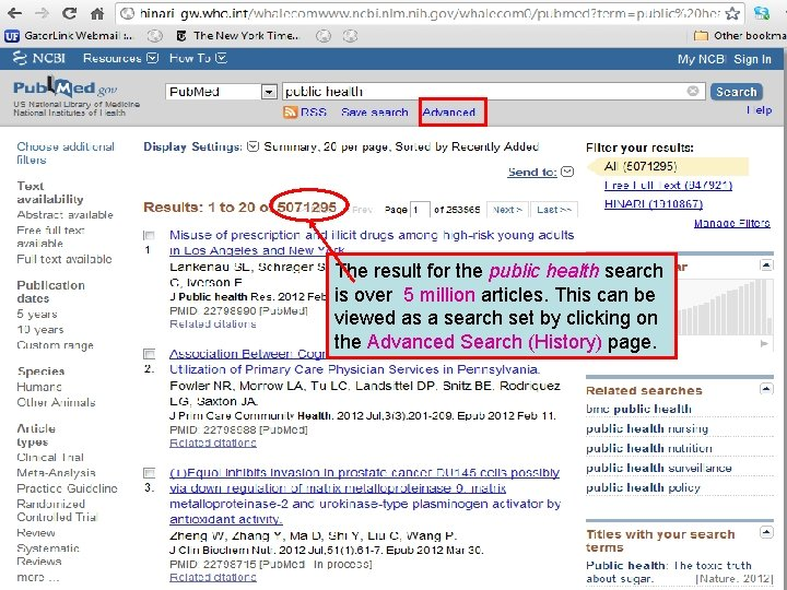 The result for the public health search is over 5 million articles. This can
