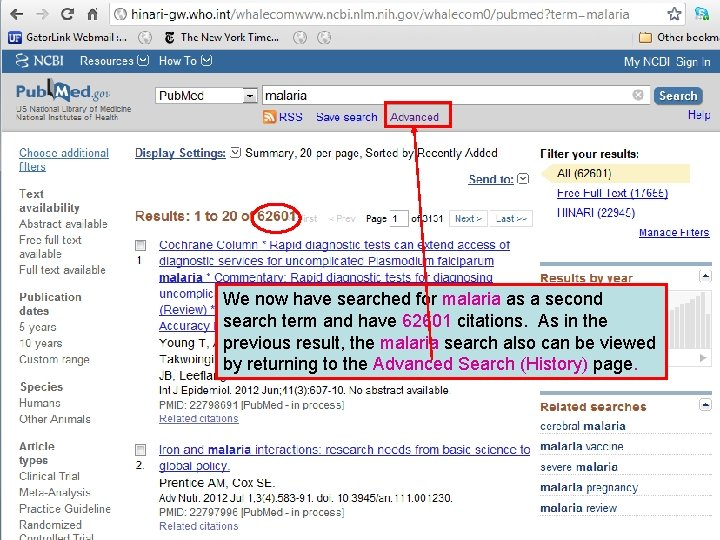 We now have searched for malaria as a second search term and have 62601